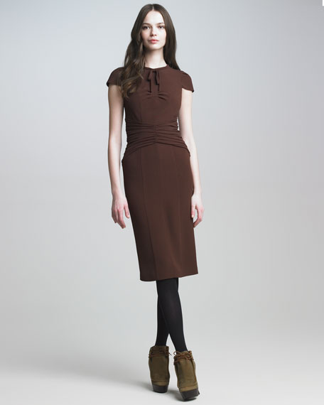 Tie-Neck Crepe Dress