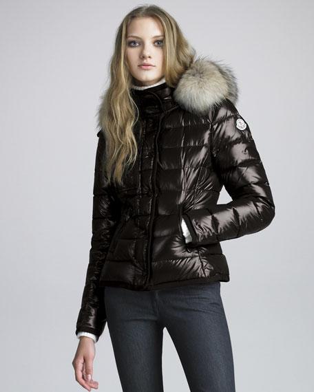 Short Coyote-Trim Lacquered Puffer Coat