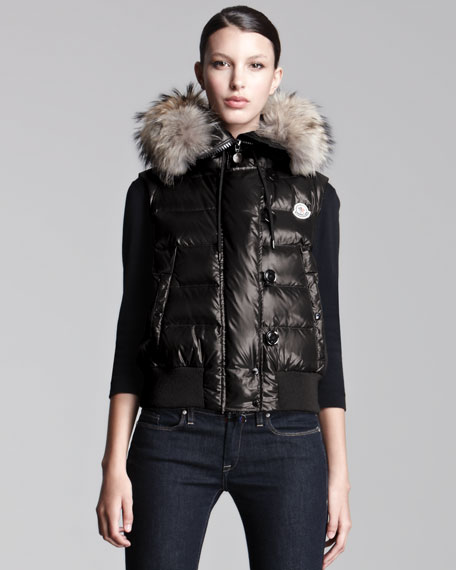 Coyote-Trim Lacquered Puffer Vest