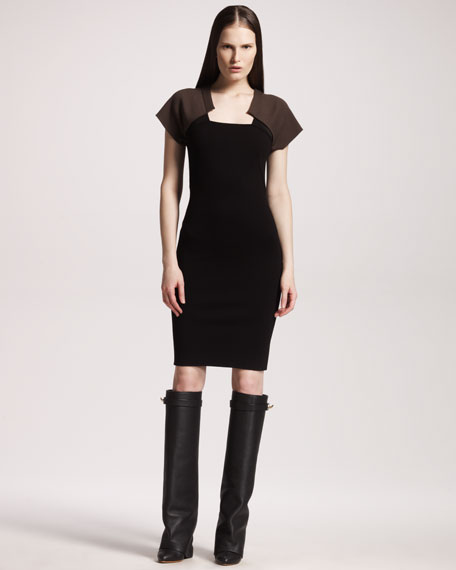 Two-Tone Cap-Sleeve Dress