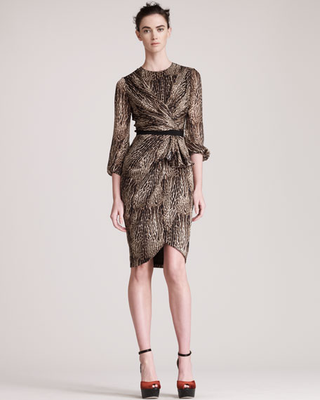 Leopard-Print Charmeuse Dress