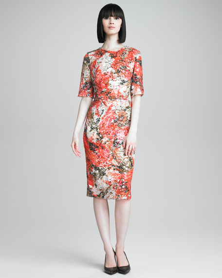 Sequined Floral-Print Dress