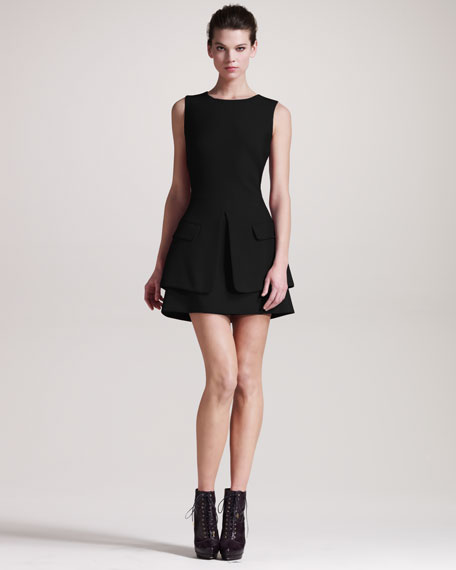 Trompe L'oeil-Jacket Dress, Black