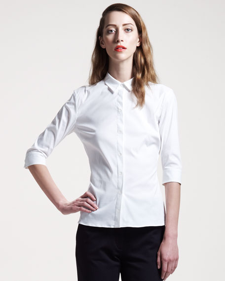 Half-Sleeve Poplin Shirt