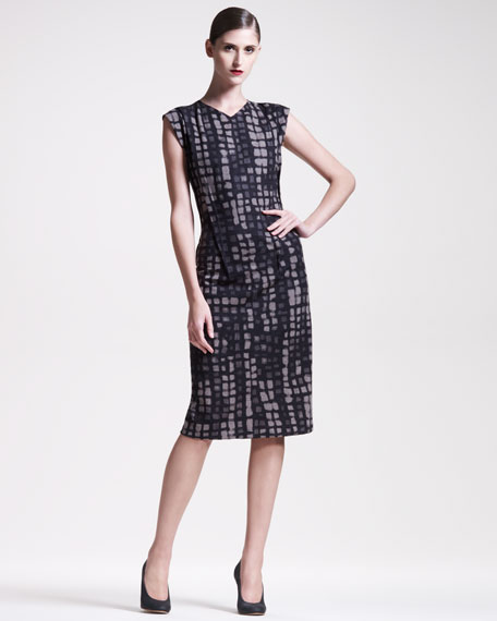 Manhattan-Print Sheath Dress