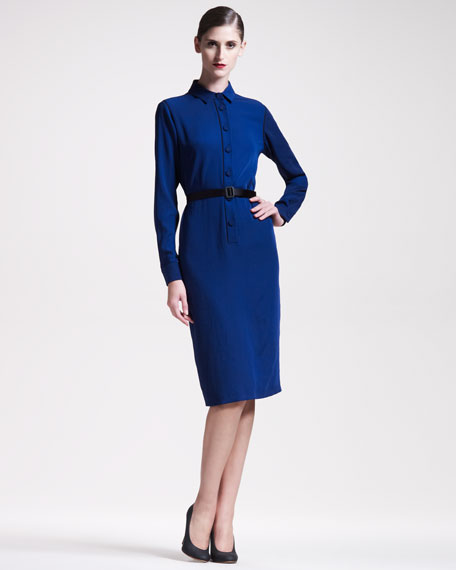 Belted Long-Sleeve Shirtdress