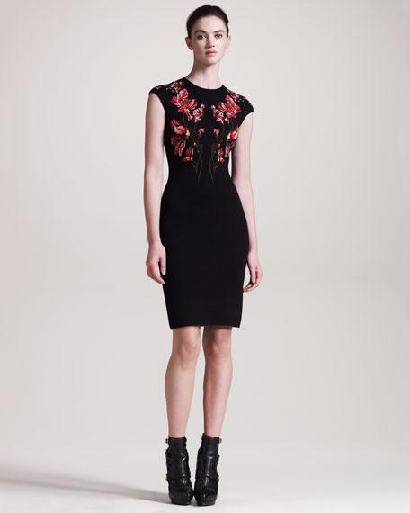 Floral Intarsia Cap-Sleeve Dress