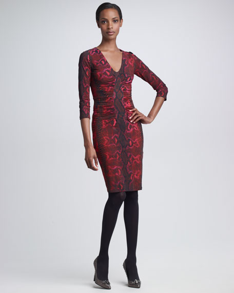 Ruched Jersey Dress, Python-Print