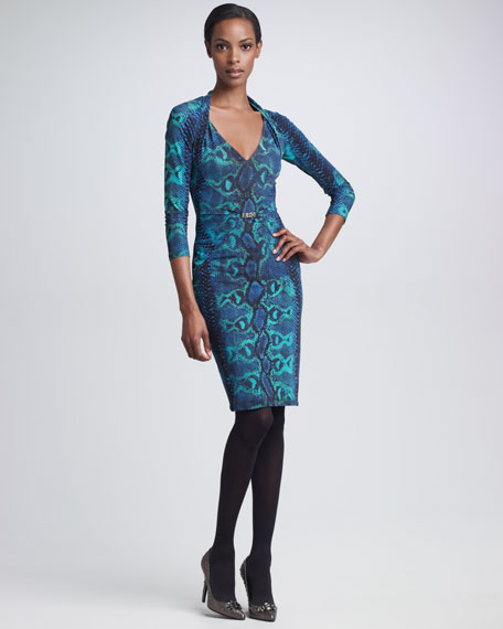 Python-Print Dress, Teal