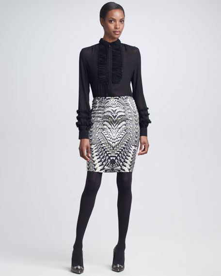 Geometric Python-Print Skirt