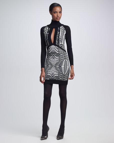 Keyhole-Front Python-Print Dress