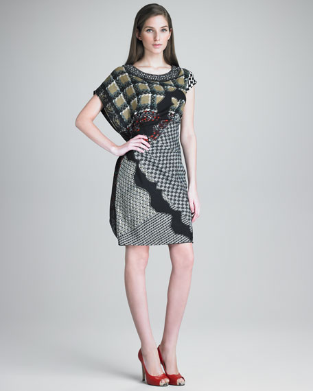 Ruched and Draped Front Asymmetrical Dress.