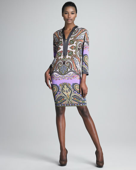 Three-Quarter-Sleeve Paisley Dress