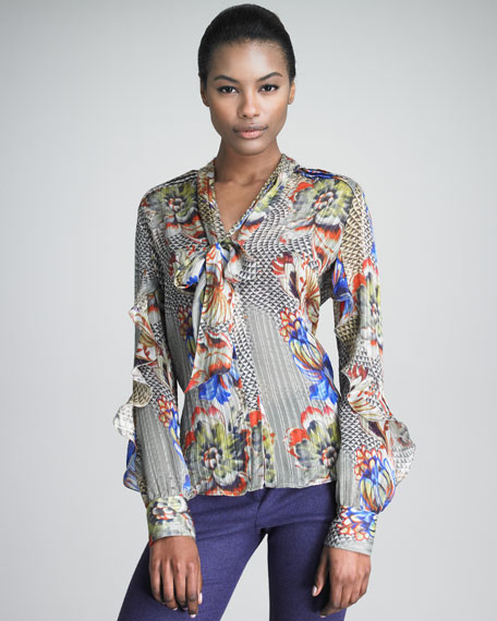 Chiffon Blouse with Covered Button Front