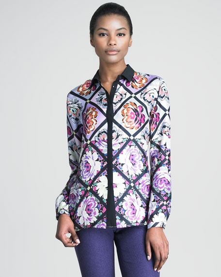 Floral Print Blouse with Grosgrain Trim