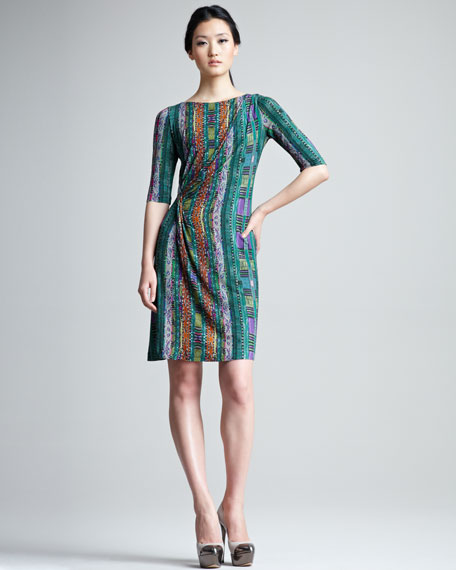 Printed Half-Sleeve Jersey Dress
