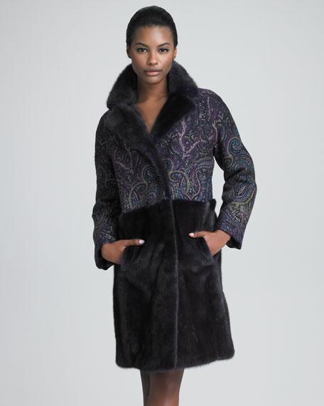 Fur & Paisley Combo Coat