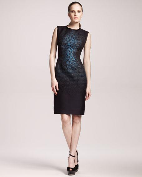 Leopard-Print Paneled Dress
