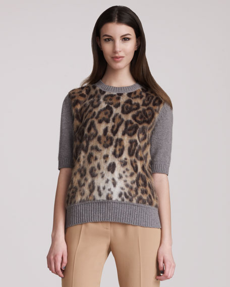 Leopard-Print Faux-Fur Sweater
