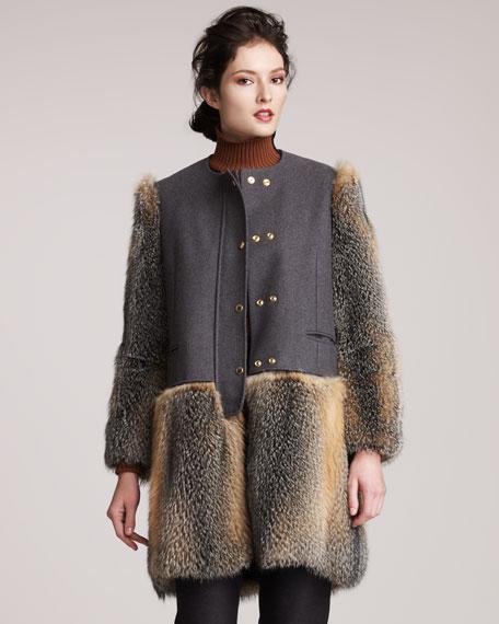 Fox-Trimmed Coat