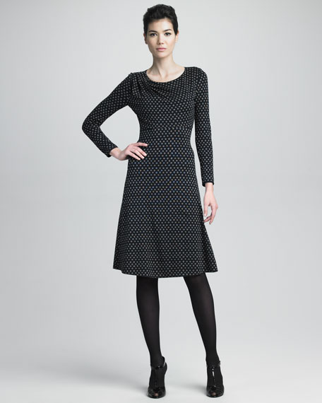 Long-Sleeve Dot Dress