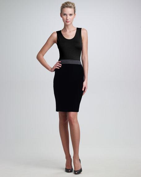 Satin-Waist Pencil Skirt