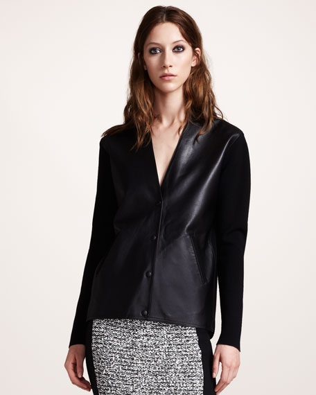 Leather-Front Cardigan