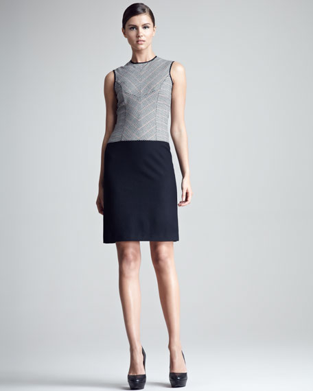 Check-Bodice Shift Dress