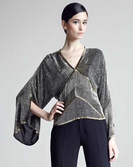 Jessica Beaded Kimono-Sleeve Top