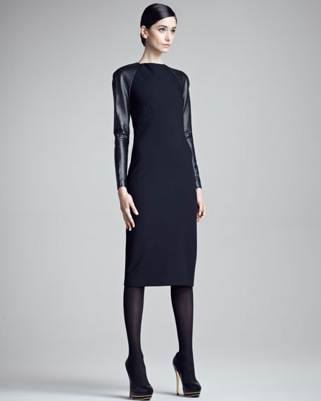 Megan Leather-Sleeve Dress