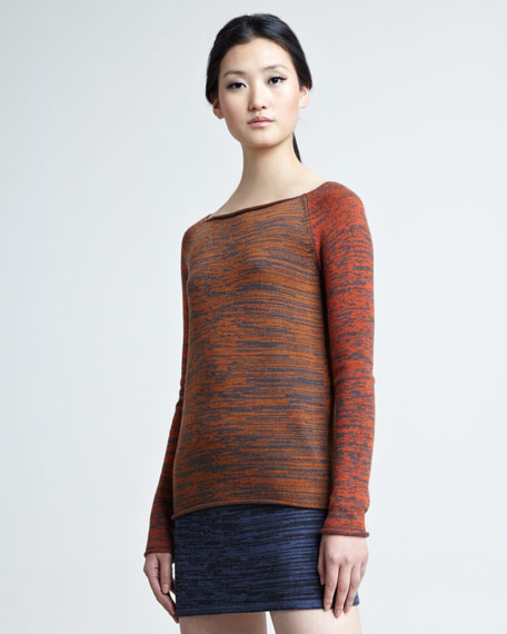 Marled-Knit Boat-Neck Top
