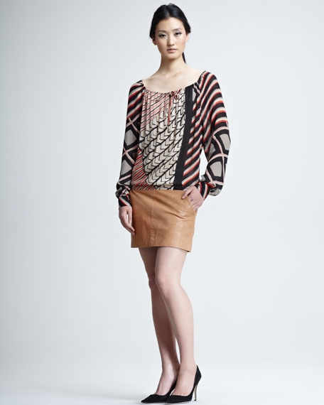 Leather-Bottom Printed Dress