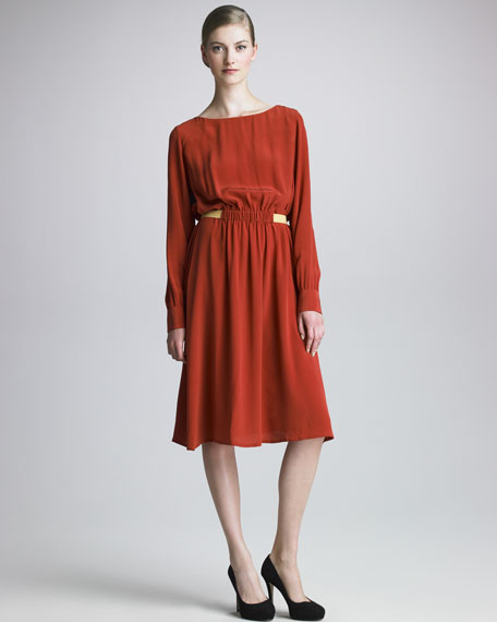 Long-Sleeve Silk Dress
