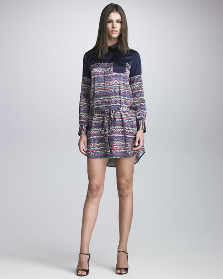 Tweed-Printed Shirtdress
