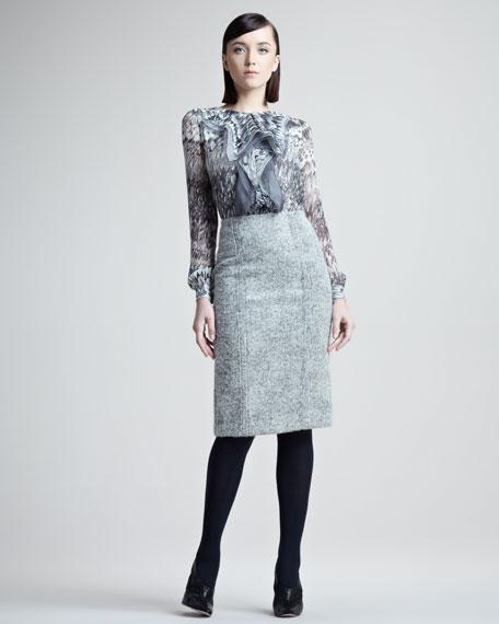 High-Waist Straight Tweed Skirt
