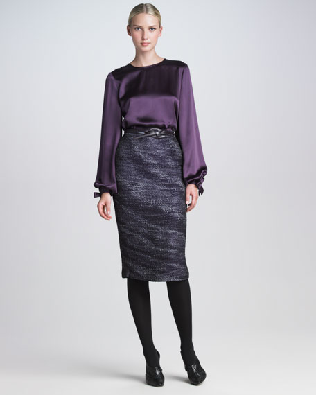 Organza Tweed Pencil Skirt
