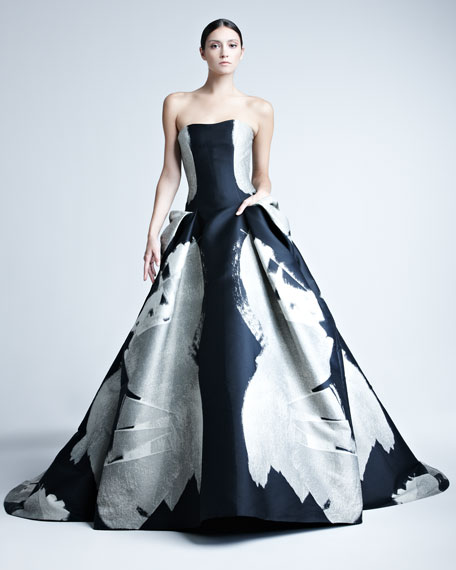 Abstract-Print Jacquard Gown