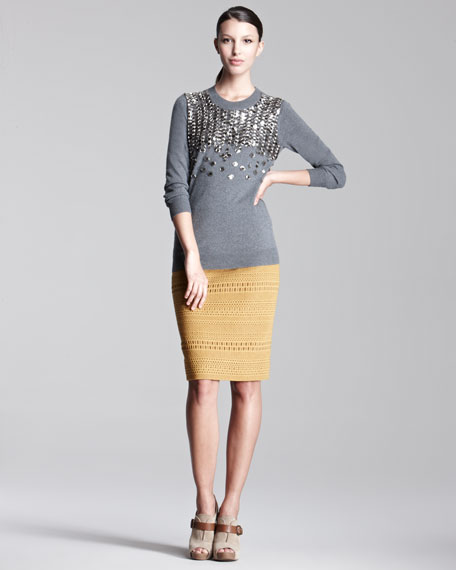 Knit-Stripe Pencil Skirt