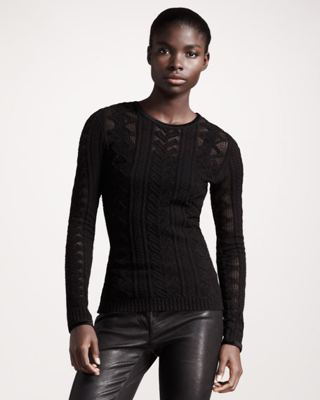 Brushed Cable-Knit Pullover