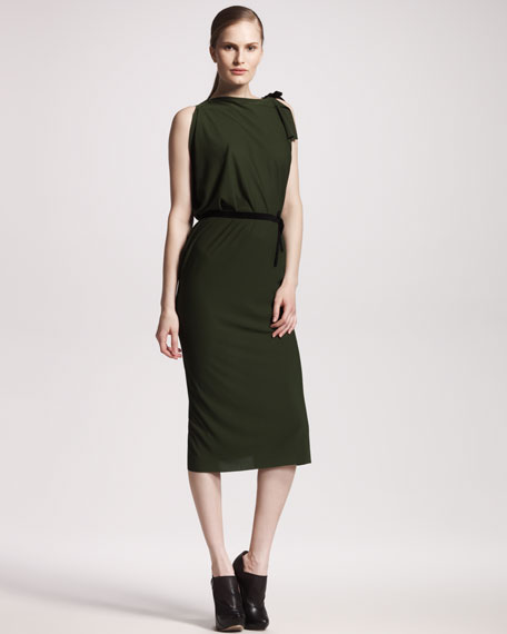 Pitt Asymmetric-Shoulder Dress, Pine Green