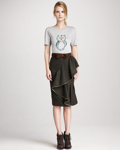 Draped Tweed Skirt