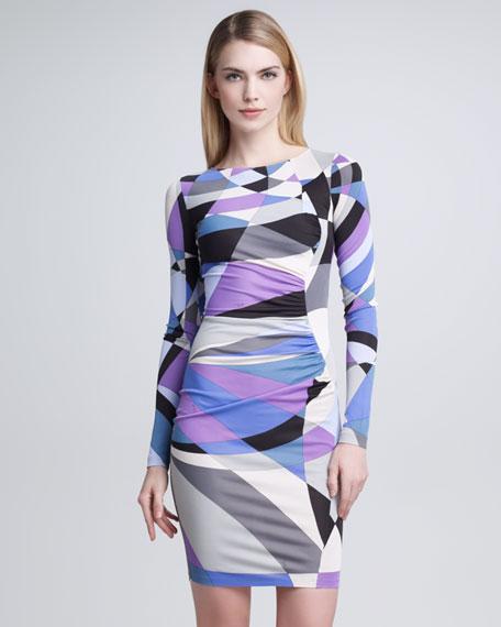 Geometric-Print Long-Sleeve Dress