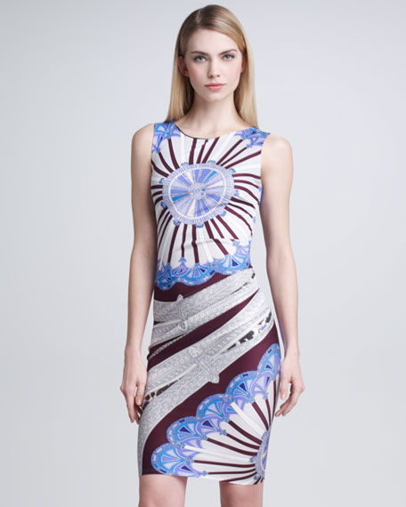 Printed Sleeveless Dress, Bordeaux