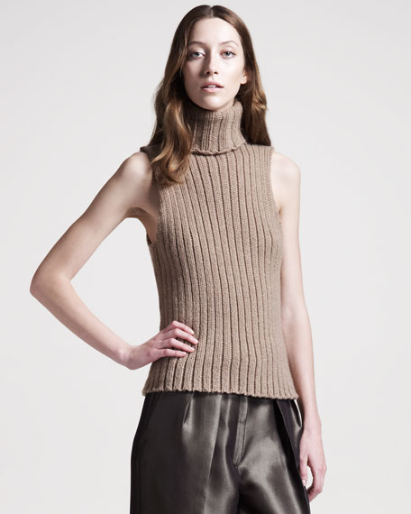 Sleeveless Cashmere Turtleneck Sweater