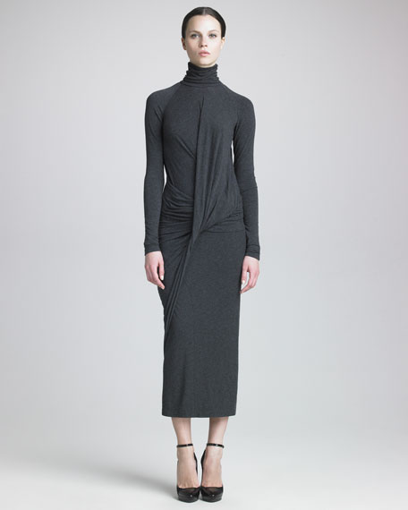 Melange Jersey Tea-Length Dress