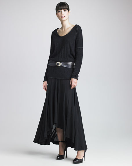 Asymmetric-Hem A-Line Skirt