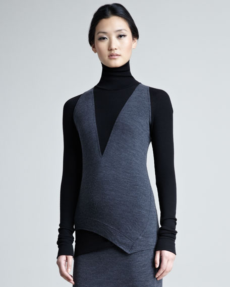 Wool Melange Layered Turtleneck