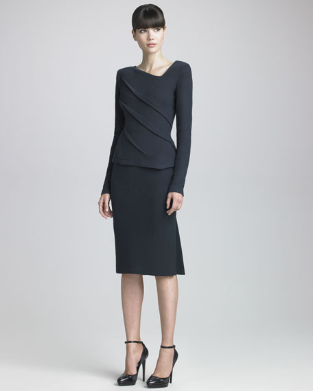 Kick-Pleat Jersey Skirt