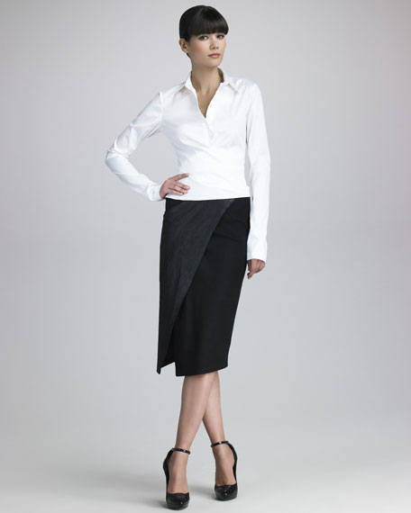 Stretch Leather Envelope Skirt