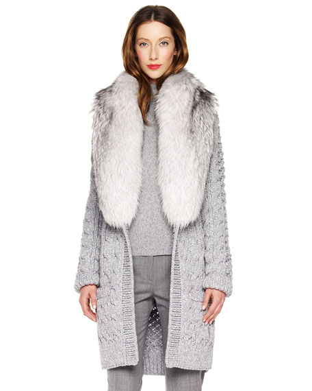 Fur-Collar Cardigan
